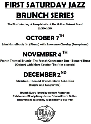 Hollow bistro jazz brunch sept to dedc