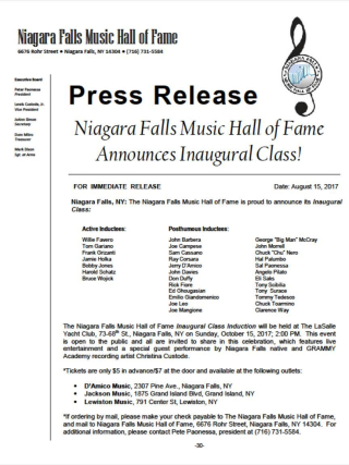 Niagara falls music hall of fame